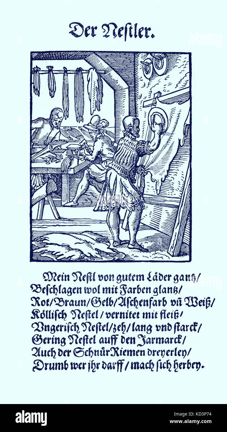 Fabricant de lacets en cuir (der Nestler), du Livre des métiers / Das Standebuch (Panoplia omnium illiberalium mechanicarum...), Collection de boisés par Jost Amman (13 juin 1539 -17 mars 1591), 1568 avec rhyme accompagné par Hans Sachs (5 novembre 1494 - 19 janvier 1576) Banque D'Images
