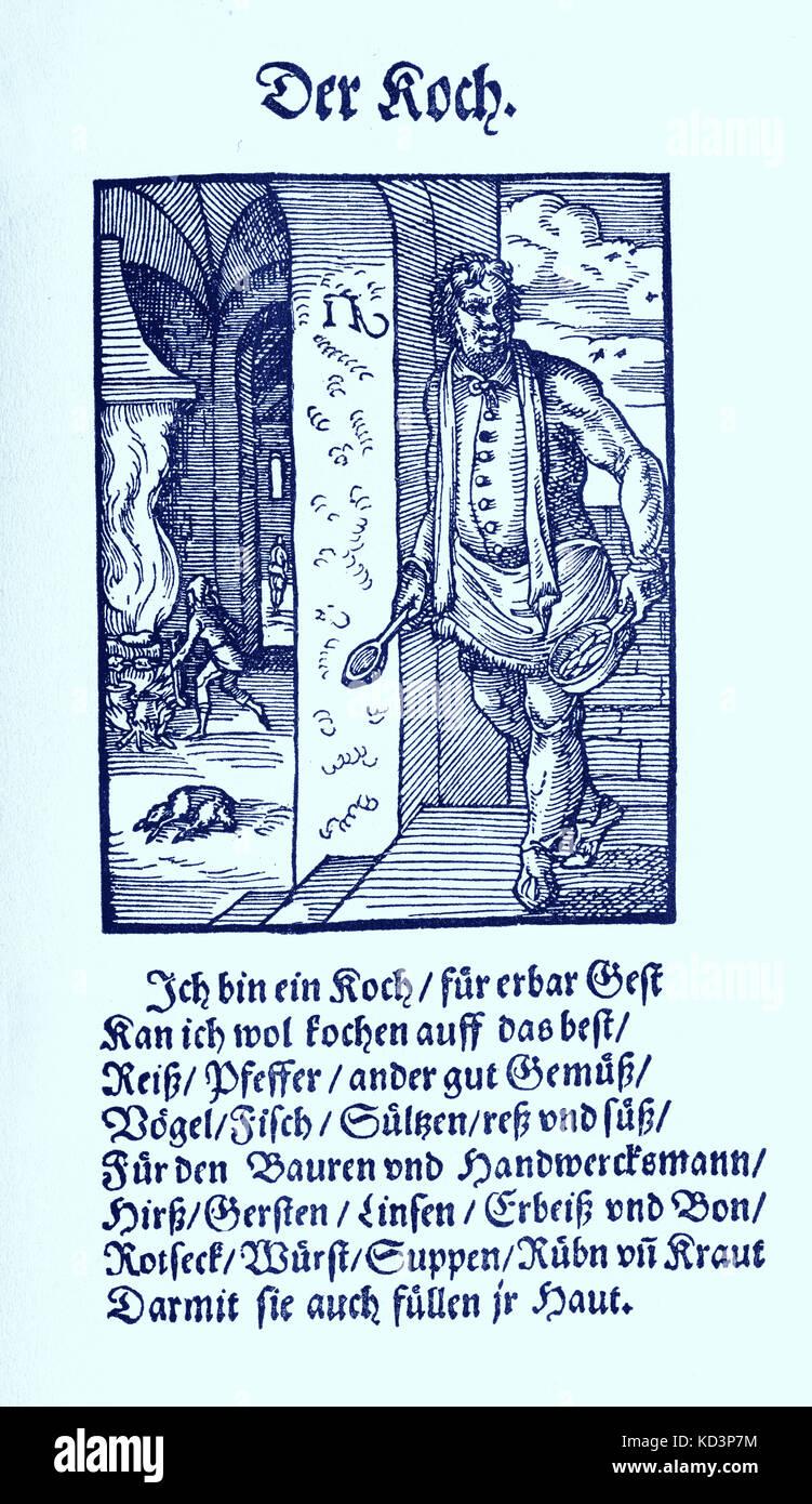 Cuisinier (der Koch), du Livre des métiers / Das Standebuch (Panoplia omnium illiberalium mechancicarum...), Collection de boisés par Jost Amman (13 juin 1539 -17 mars 1591), 1568 accompagné de rhyme by Hans Sachs (5 novembre 1494 - 19 janvier 1576) Banque D'Images