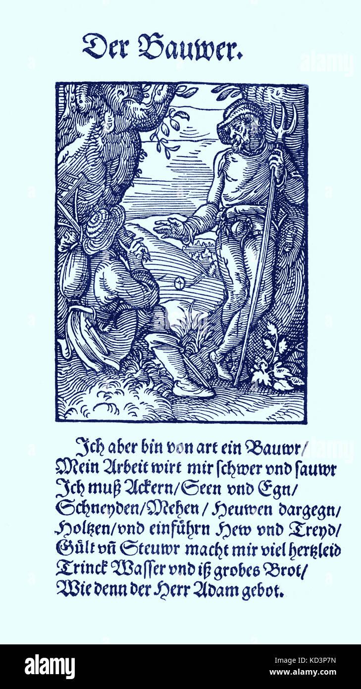 Farmer (der Bauer), du Livre des métiers / Das Standebuch (Panoplia omnium illiberalium mechancicarum...), Collection de boisés par Jost Amman (13 juin 1539 -17 mars 1591), 1568 avec le rhyme accompagnant par Hans Sachs (5 novembre 1494 - 19 janvier 1576) Banque D'Images