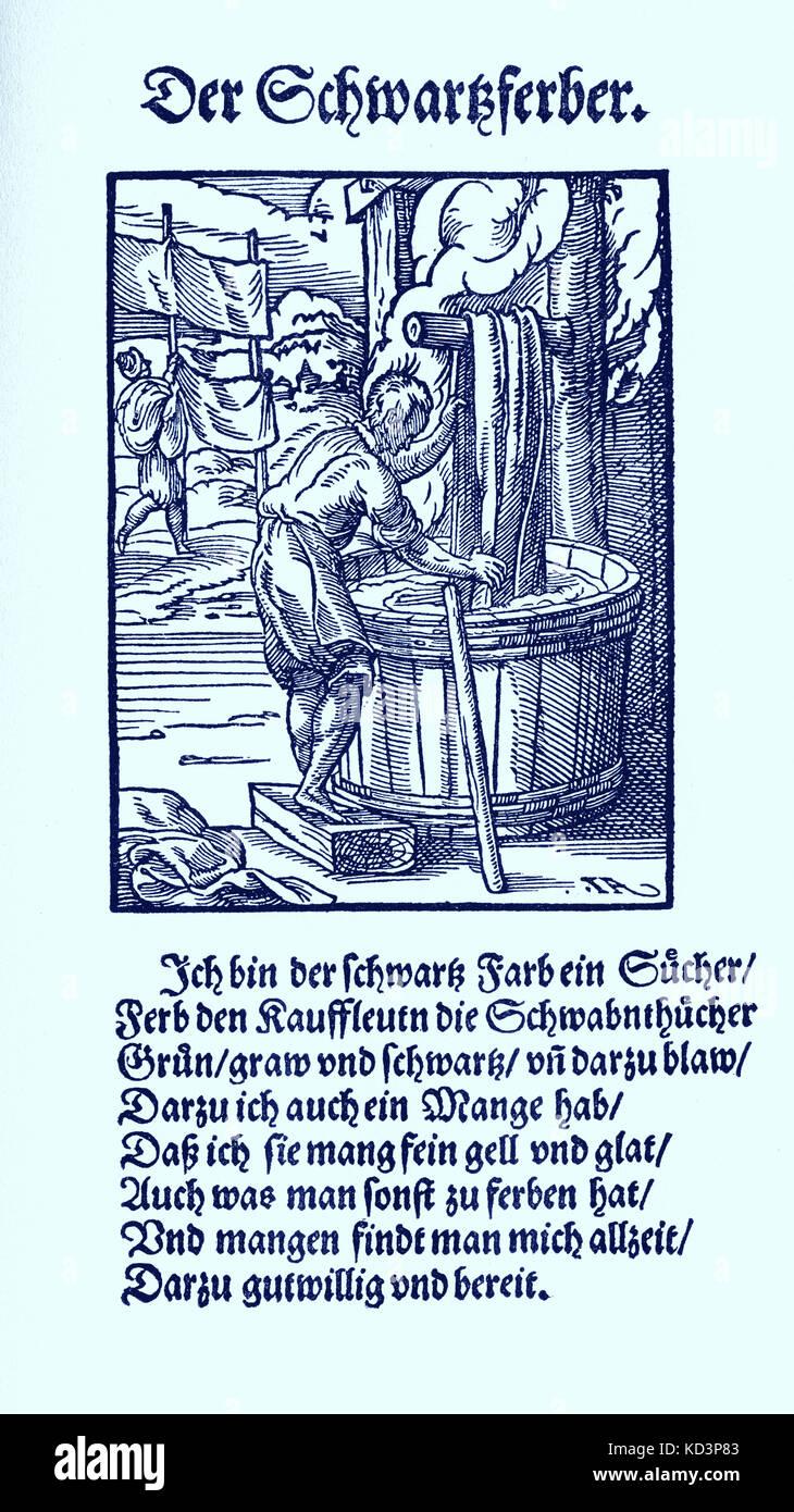 Das Standebuch (Panoplia omnium illiberalium mechanicarum...), Collection de coupes de bois par Jost Amman (13 juin 1539 -17 mars 1591), 1568 avec le rhyme d'accompagnement par Hans Sachs (5 novembre 1494 - 19 janvier 1576) Banque D'Images