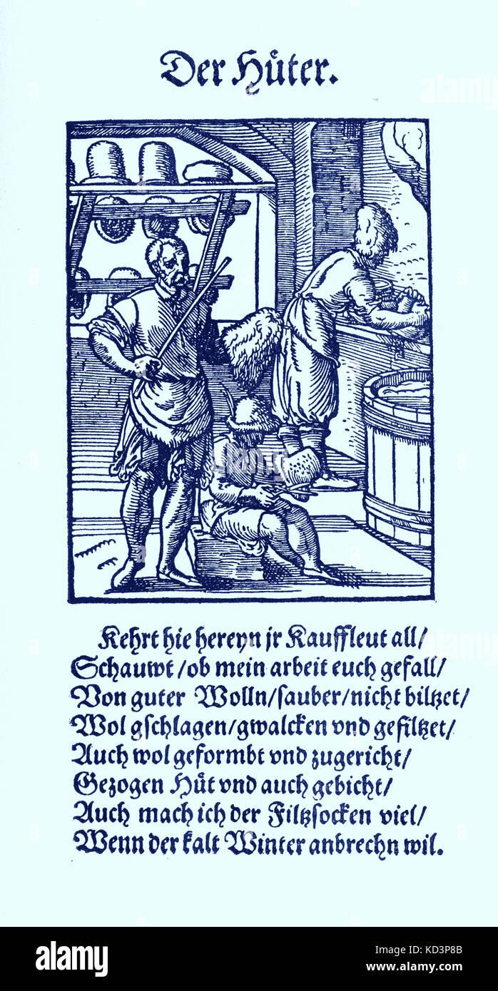 Milliner / chapeau (der Huter), du Livre des métiers / Das Standebuch (Panoplia omnium illiberalium mécanicarum...), Collection de boisés par Jost Amman (13 juin 1539 -17 mars 1591), 1568 avec rhyme accompagné par Hans Sachs (5 novembre 1494 - 19 janvier 1576) Banque D'Images