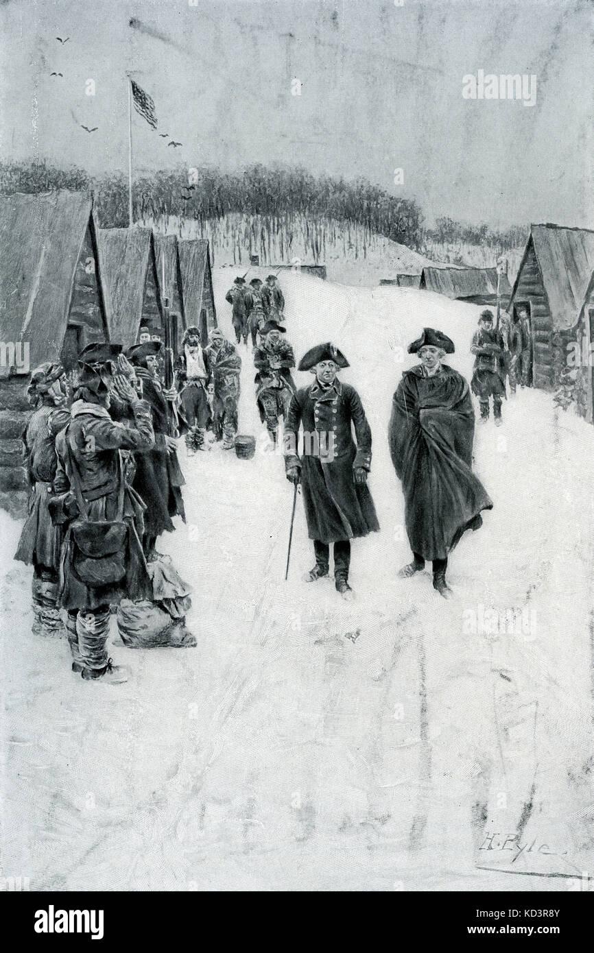 George Washington et Baron von Steuben à Valley Forge, 1778. Révolution américaine. Illustration de Howard Pyle, 1896 Banque D'Images