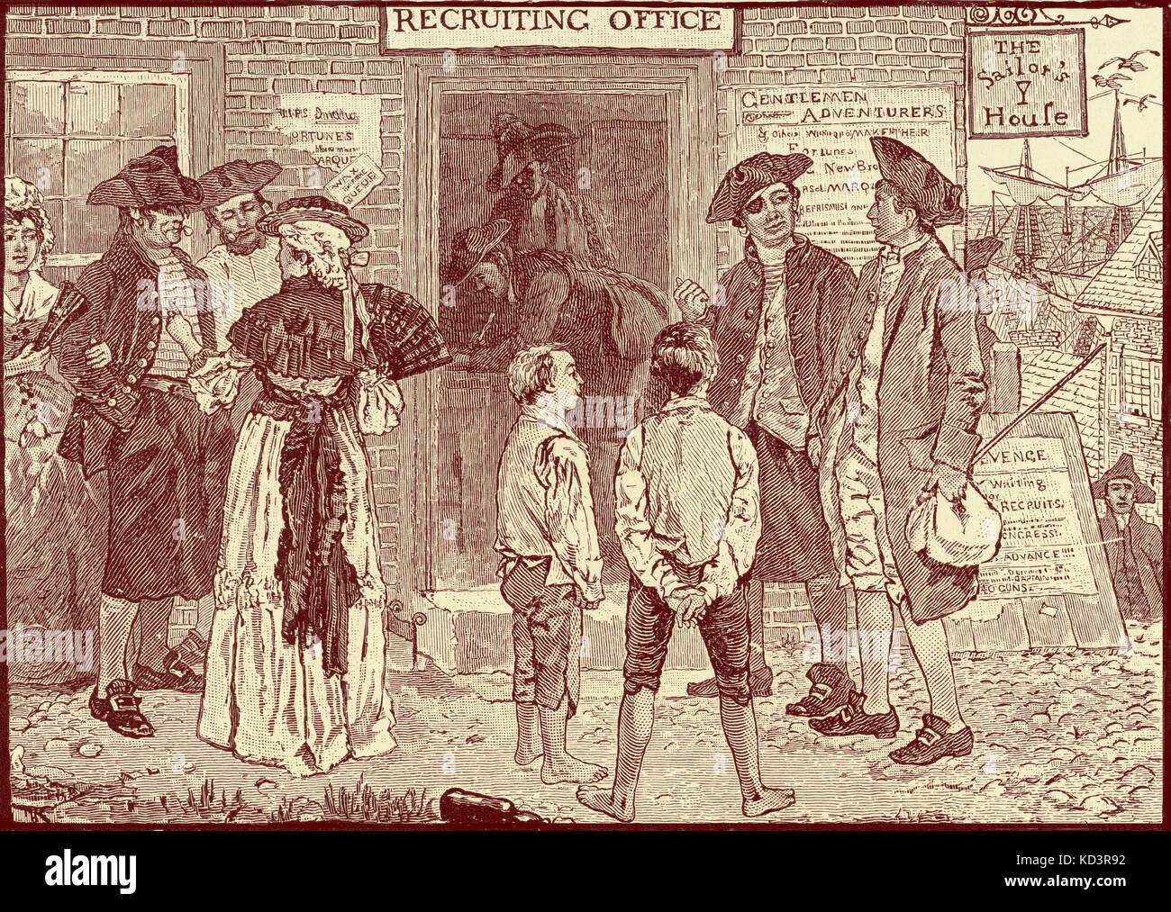 Bureau révolutionnaire de récurage pour les corsaires américains, New London, Connecticut. Révolution américaine, 1765 - 1783. Illustration de Howard Pyle, 1896 Banque D'Images