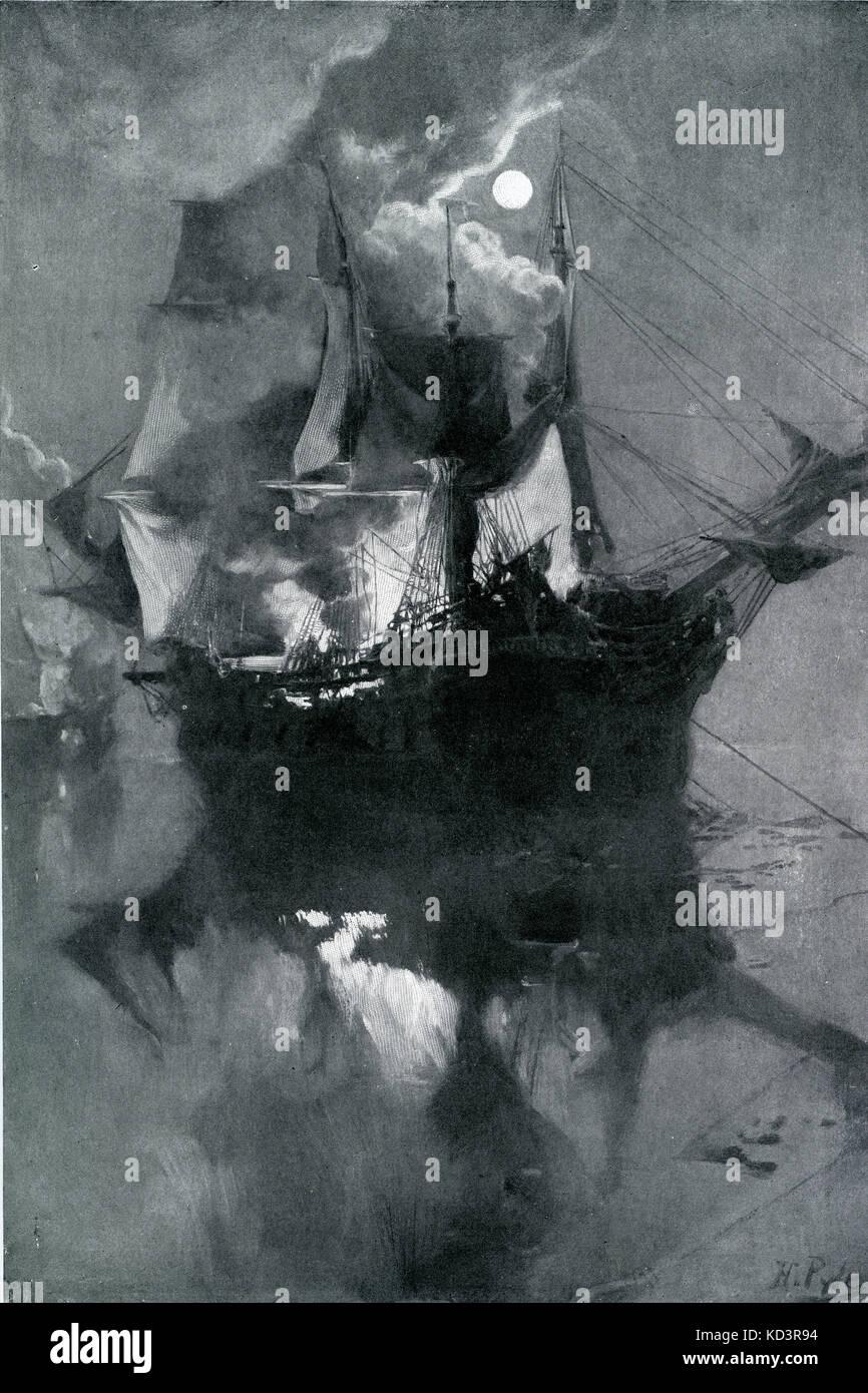 Bataille de Flamborough Head, bataille navale entre les navires britanniques et américains Bonhomme Richard et Serapis, 1779. Révolution américaine. Illustration de Howard Pyle, 1896 Banque D'Images