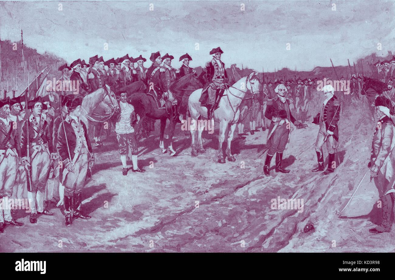 Reddition de Cornwallis, Bataille de Yorktown, 1781. Défaite des forces britanniques par les troupes américaines et françaises dirigées par George Washington et le Comte de Rochambeau. Révolution américaine. Illustration de Howard Pyle, 1896 Banque D'Images