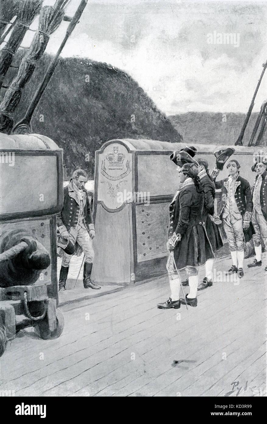 La fuite du général révolutionnaire américain Benoît Arnold (1741 - 1801) sur le navire britannique Vautour, 1780, après avoir défection aux Britanniques. Révolution américaine. Illustration de Howard Pyle, 1896 Banque D'Images