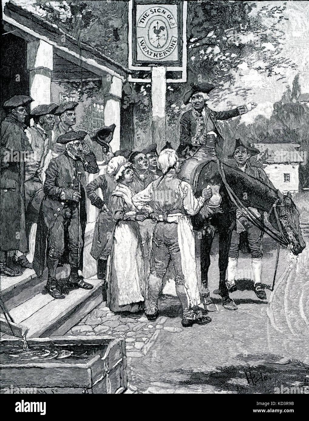 Le colonel Tench Tilghman (25 décembre 1744 – 18 avril 1786) transportant les documents de remise de la bataille de Yorktown au Congrès continental de Philadelphie, 1781, s'arrête au signe de la Weathervane pour diffuser les nouvelles de la victoire américaine. Révolution américaine. Illustration de Howard Pyle, 1896 Banque D'Images