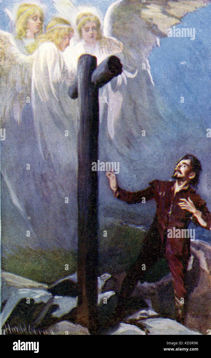 ' le progrès du Pilgrim de ce monde à celui qui doit venir sous la similitude d'un rêve ' par John Bunyan. Illustration de Harold Copping. Légende : « Christian perd son fardeau : maintenant qu'il regardait et pleurait, voici trois Shining qui lui arrivaient » (Chrisitian à la Croix) Banque D'Images