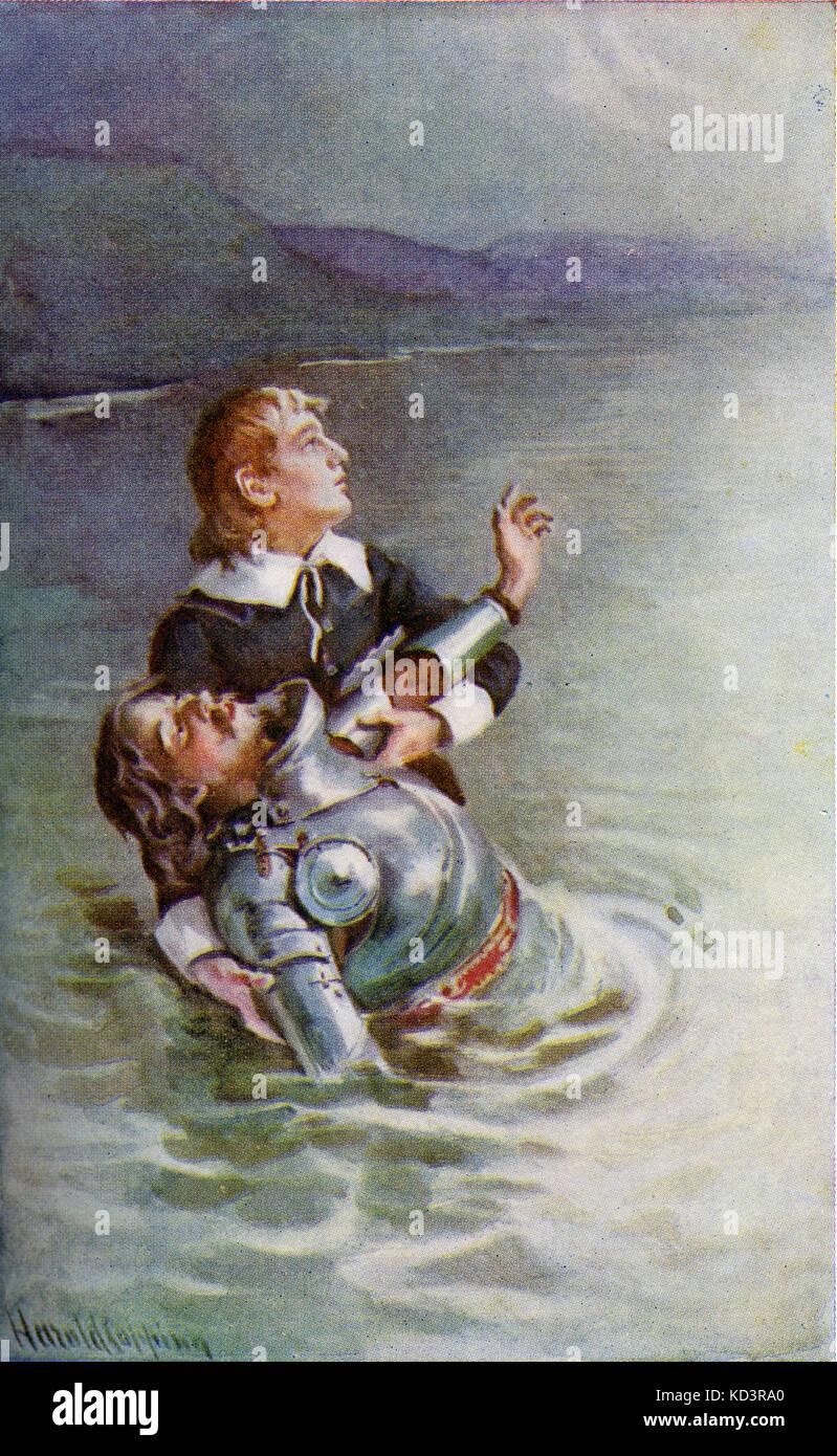 ' le progrès du Pilgrim de ce monde à celui qui doit venir sous la similitude d'un rêve ' par John Bunyan. Illustration de Harold Copping. Légende : « traverser la rivière : l'espoir s'efforcerait également de le réconforter, disant frère, je vois la porte ». Banque D'Images