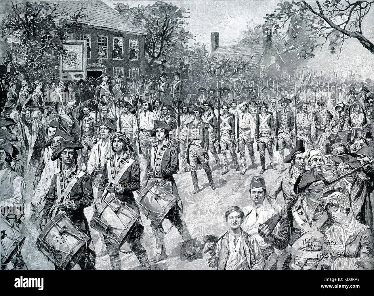 L'armée continentale a marché dans Old Bowery, New York, 25 novembre 1783. Les forces de Washington prennent la posession de New York à la fin de la Révolution américaine. Illustration de Howard Pyle, 1896 Banque D'Images