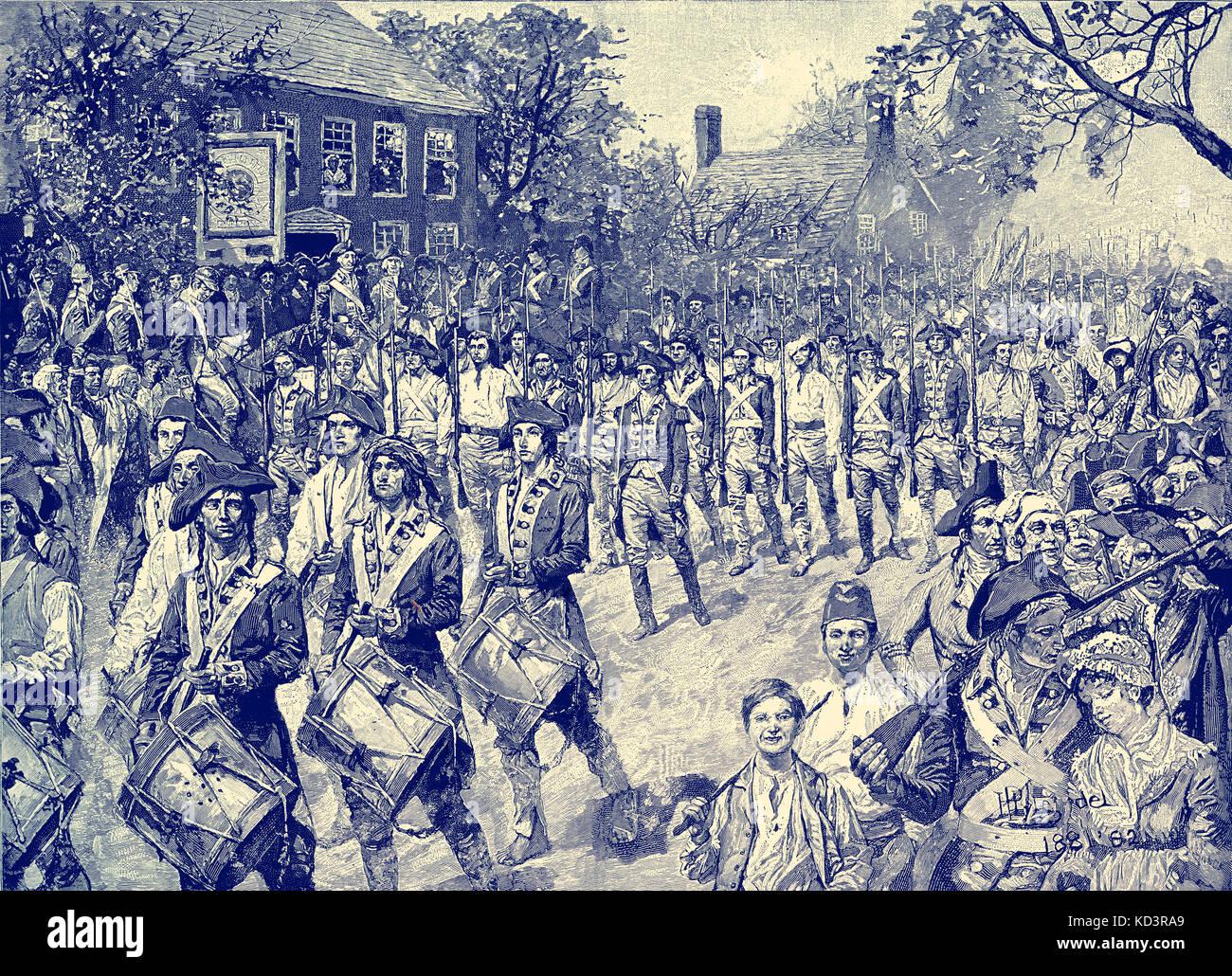 L'armée continentale a marché dans Old Bowery, New York, 25 novembre 1783. Les forces de Washington prennent la posession de New York à la fin de la Révolution américaine. Évacuation britannique de New York. Illustration de Howard Pyle, 1896 Banque D'Images