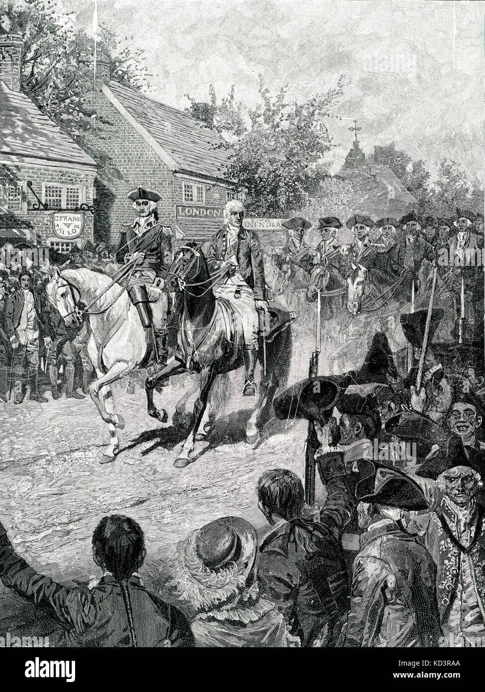 George Washington et George Clinton sont à la tête de la procession civile à New York, le 25 novembre 1783. Les forces de Washington prennent la posession de New York à la fin de la Révolution américaine. Évacuation britannique de New York. Illustration de Howard Pyle, 1896 Banque D'Images