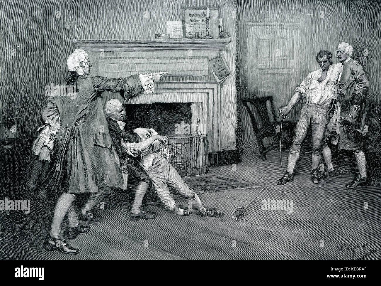 Le commandant britannique, le capitaine Tollemache, traverse et est tué dans un duel avec le capitaine Pennington à la taverne City Arms, colonial New York, XVIIIe siècle. Illustration de Howard Pyle, 1896 Banque D'Images