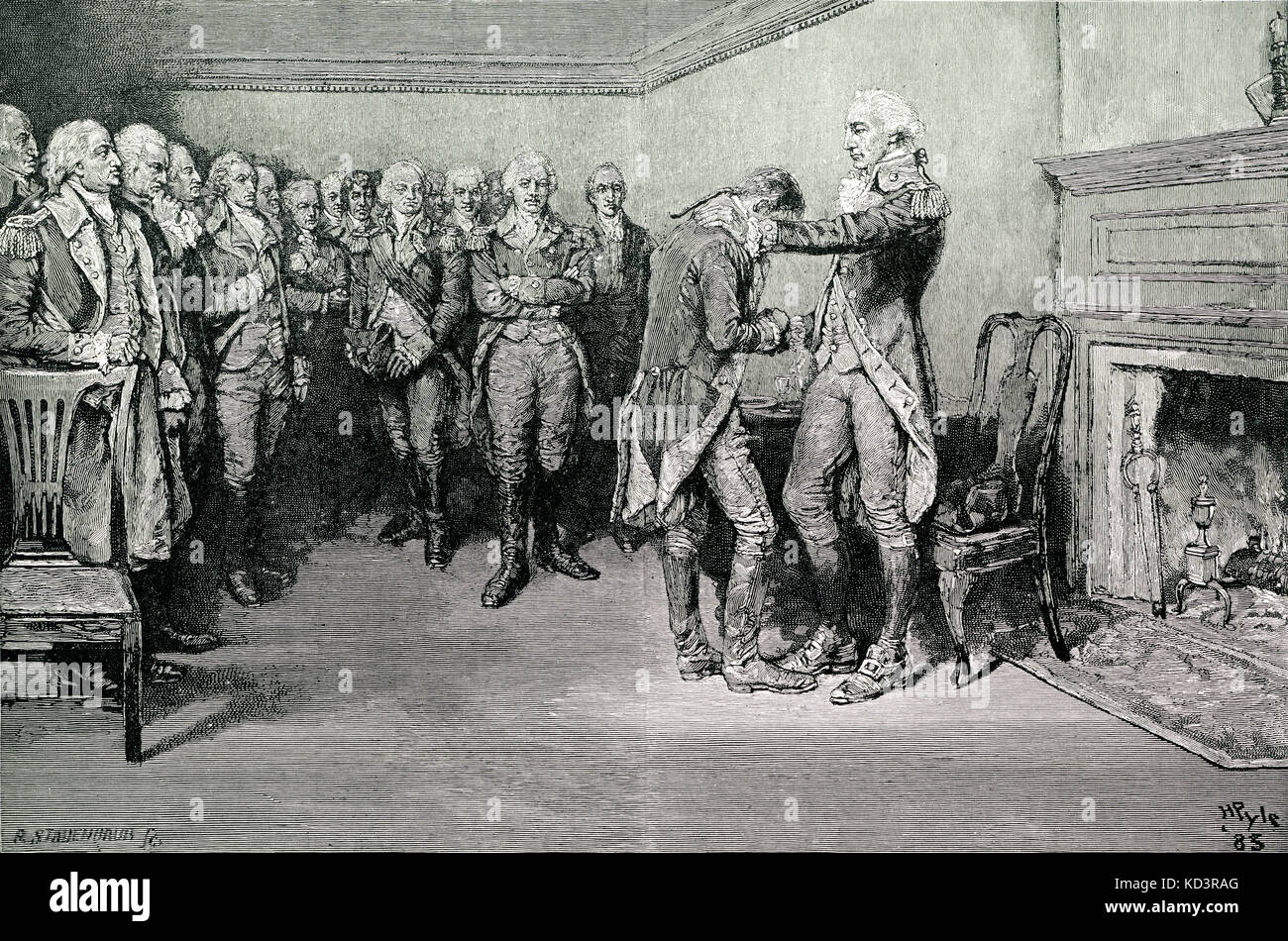 Washington prend congé de ses officiers, 4 décembre 1783, après la fin de la Révolution américaine. Illustration de Howard Pyle, 1896 Banque D'Images