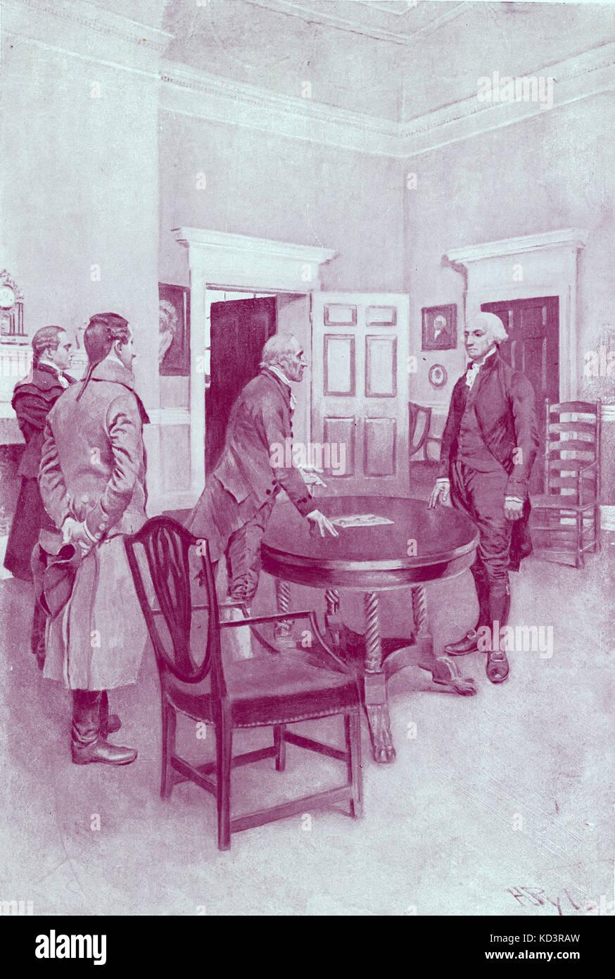 Charles Thompson annonce à George Washington son élection comme premier président des États-Unis à Mount Vernon, 1789. Illustration de Howard Pyle, 1896 Banque D'Images