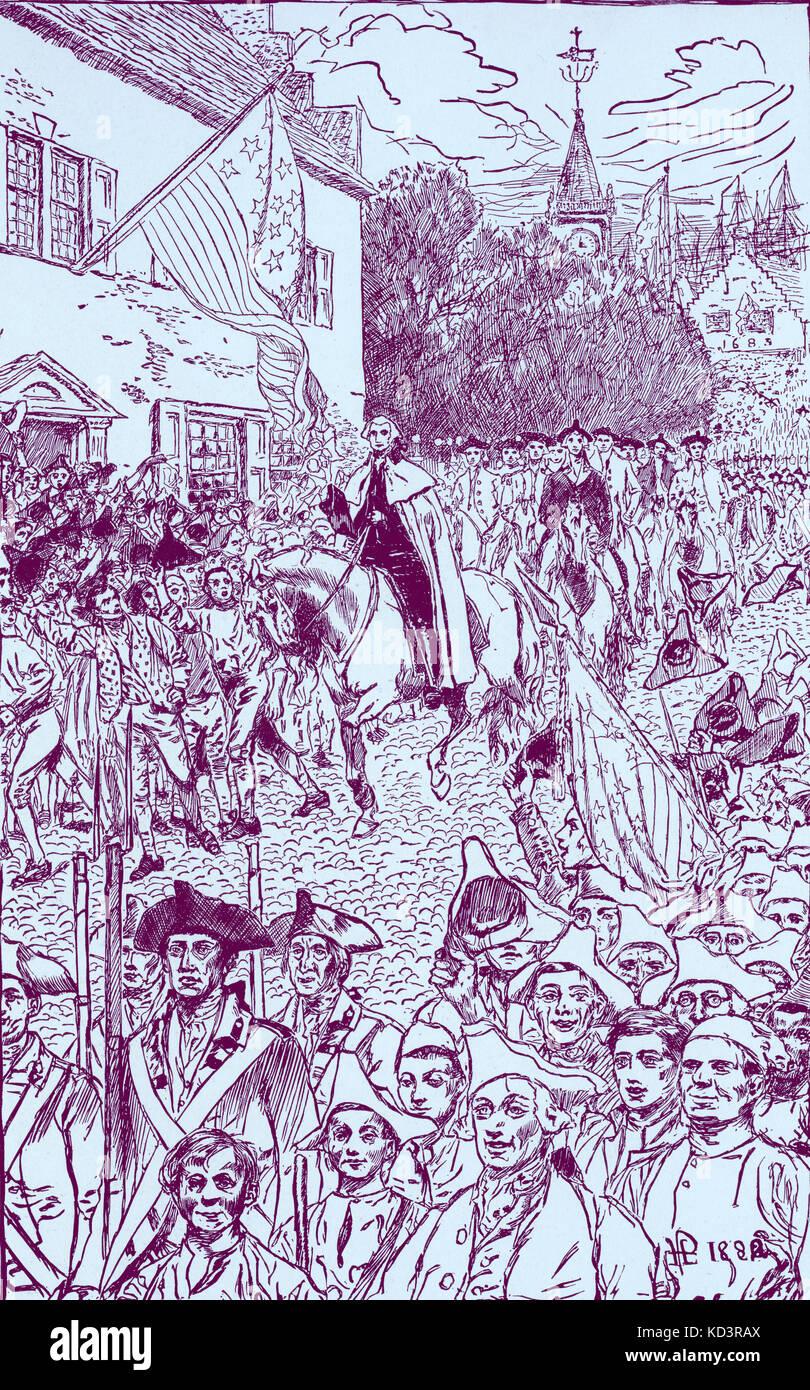 George Washington procession à son investiture en tant que premier président des États-Unis, 1789. Illustration de Howard Pyle, 1896 Banque D'Images