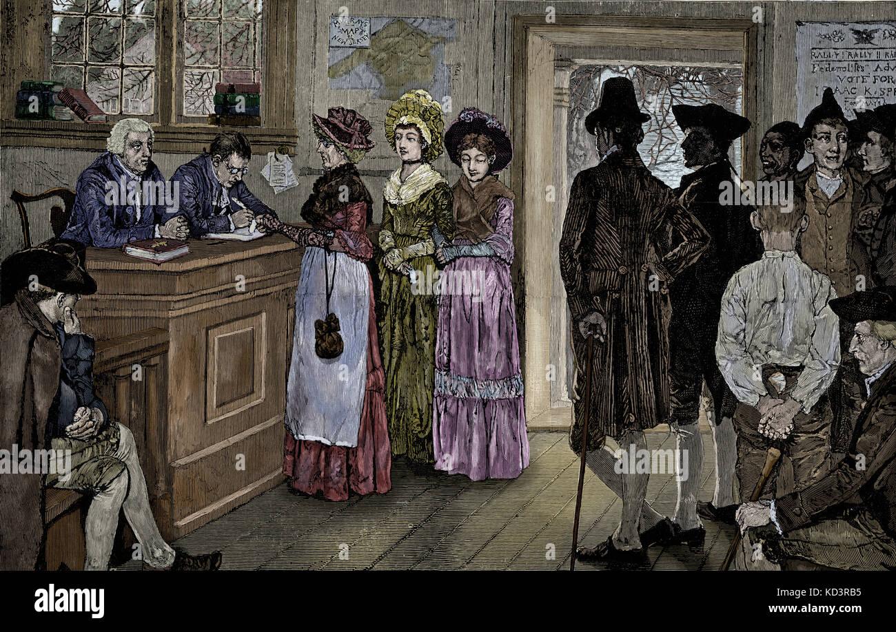 Les femmes qui votent aux urnes du New Jersey - les femmes ont eu le vote de 1790 à 1807, lorsque l'Assemblée générale a limité le suffrage aux citoyens libres, blancs et masculins. Illustration de Howard Pyle, 1880 Banque D'Images
