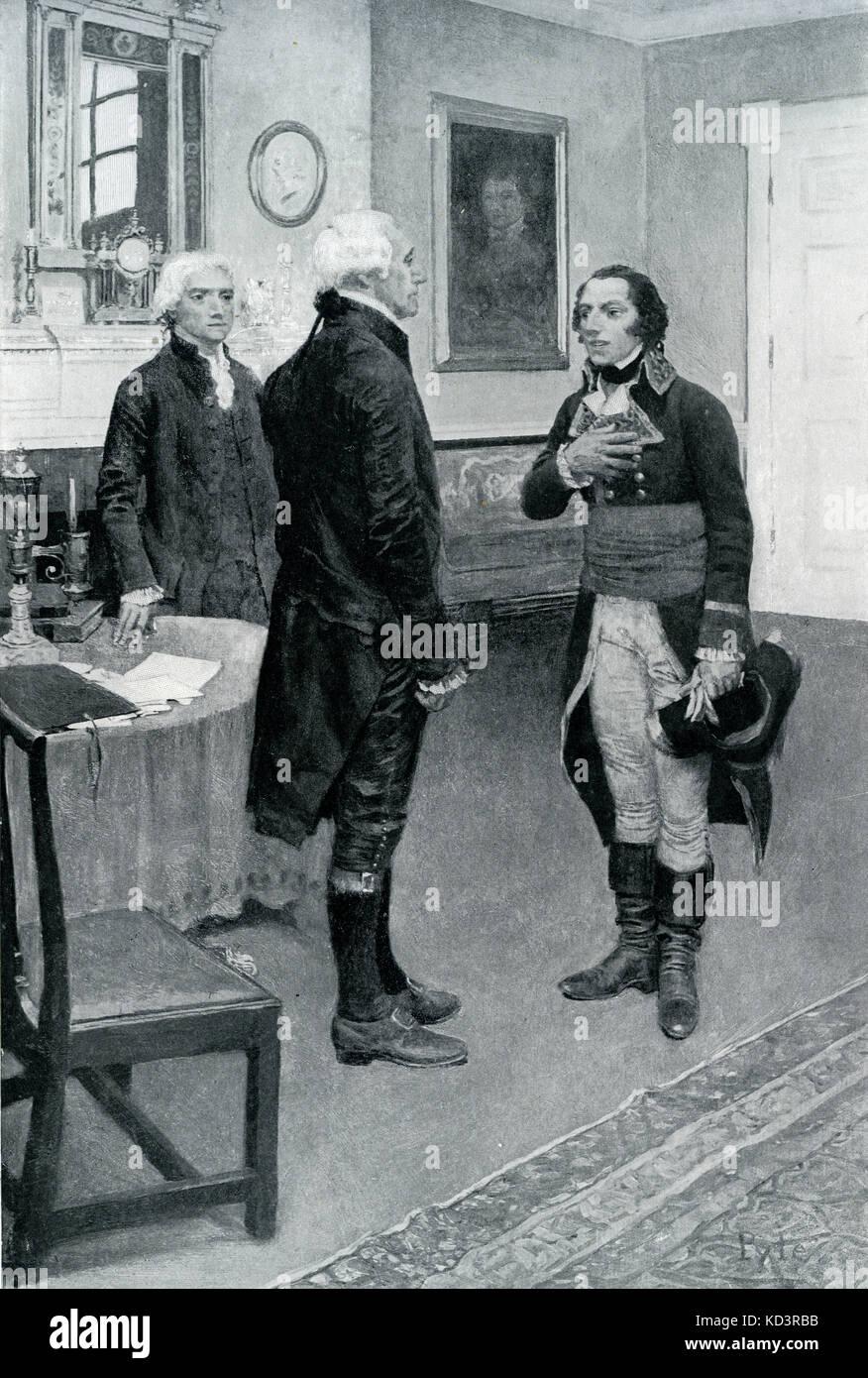 Edmond-Charles Genet présenté à George Washington. Affaire Genet citoyen, 1793. Edmond-Charles Genêt, nommé ambassadeur français aux États-Unis pendant la Révolution française. Illustration de Howard Pyle, 1897 Banque D'Images