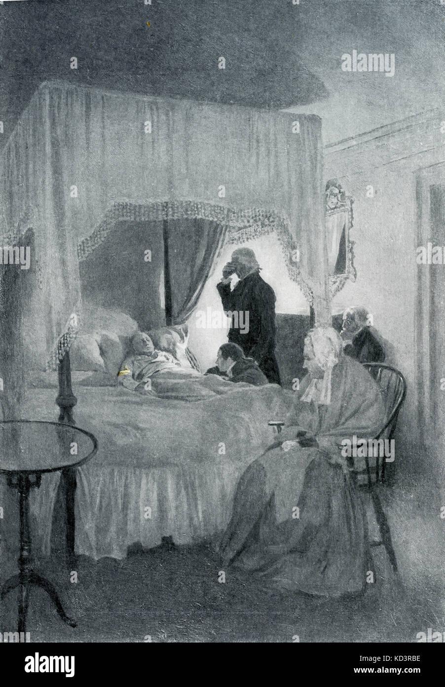 Mort de George Washington à Mount Vernon, 14 décembre 1799. Illustration de Howard Pyle, 1896 Banque D'Images