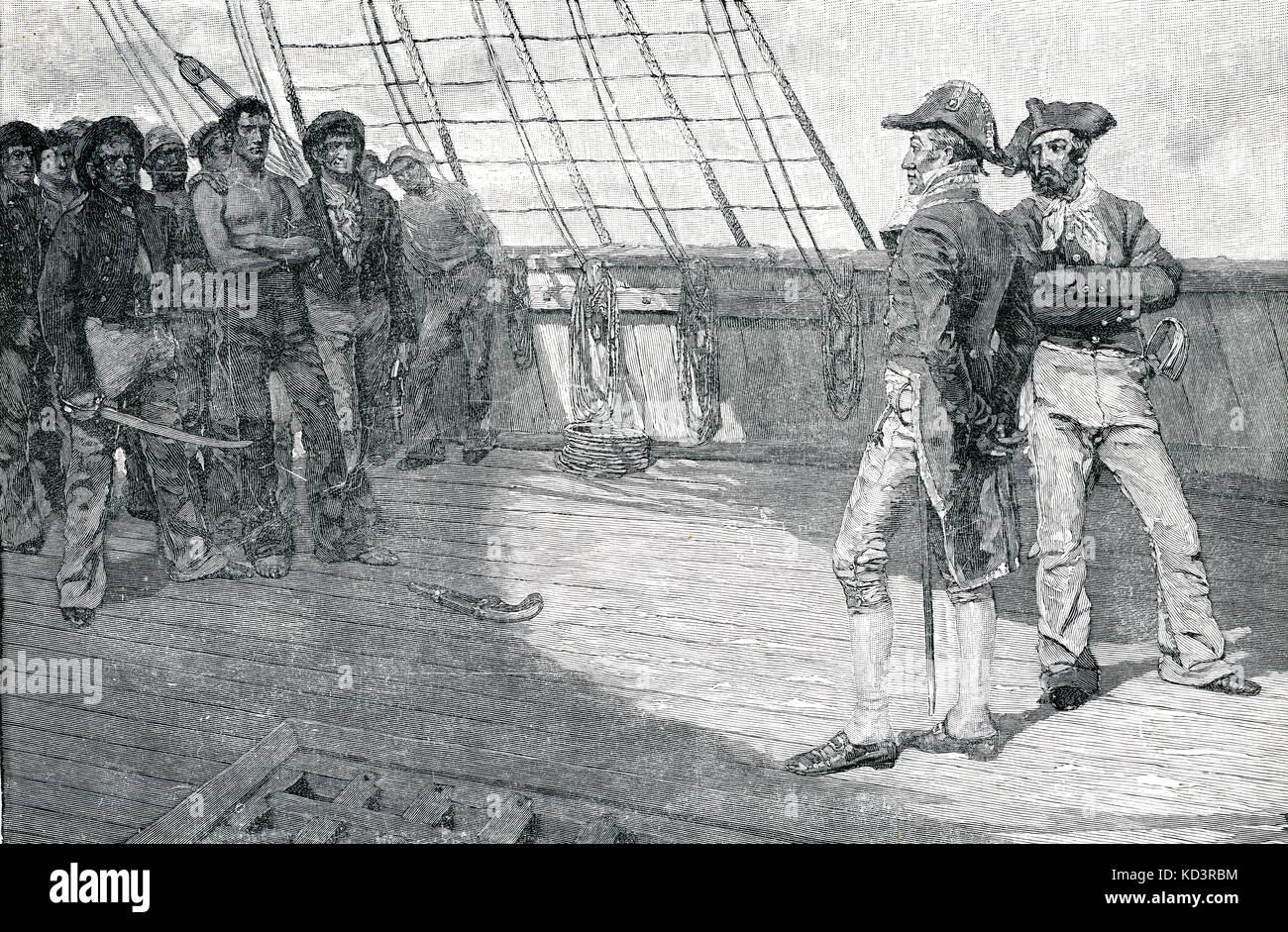 Impressment of American Seamen, deuxième guerre pour l'indépendance / guerre de 1812. Illustration de Howard Pyle, 1884 Banque D'Images