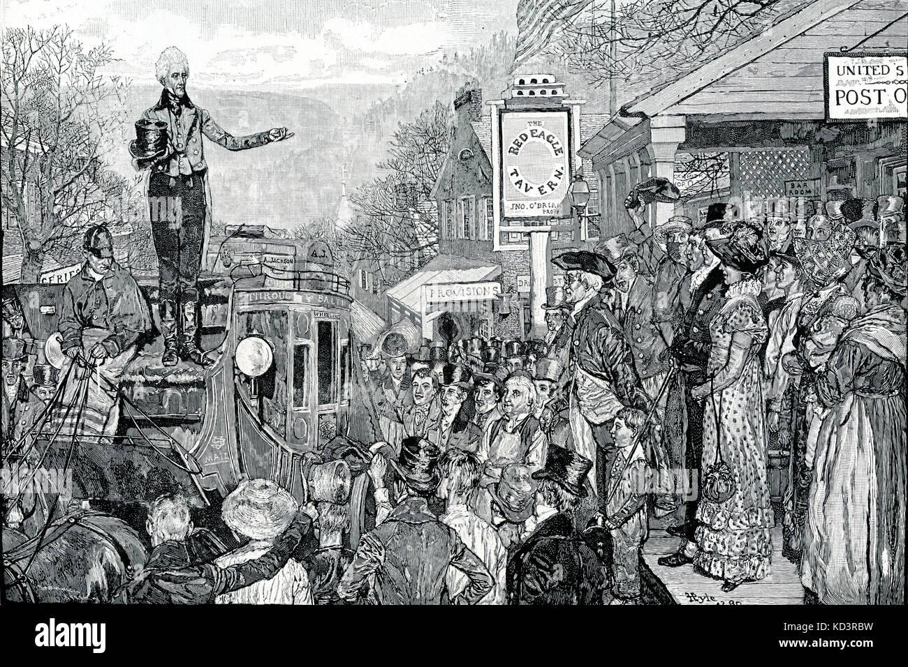 Andrew Jackson en tant que président élu sur son chemin vers Washington, 1829. Septième Président des États-Unis. Illustration de Howard Pyle, 1911 Banque D'Images