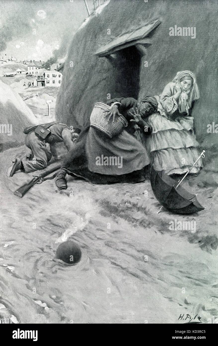Siège de Vicksburg, campagne de Vicksburg, 1863. Guerre civile américaine. Des citoyens non combisants de Vicksburg qui s'abritaient dans des grottes creusées dans le flanc de la colline s'échappent étroitement du feu de la coquille. Illustration de Howard Pyle, 1909 Banque D'Images