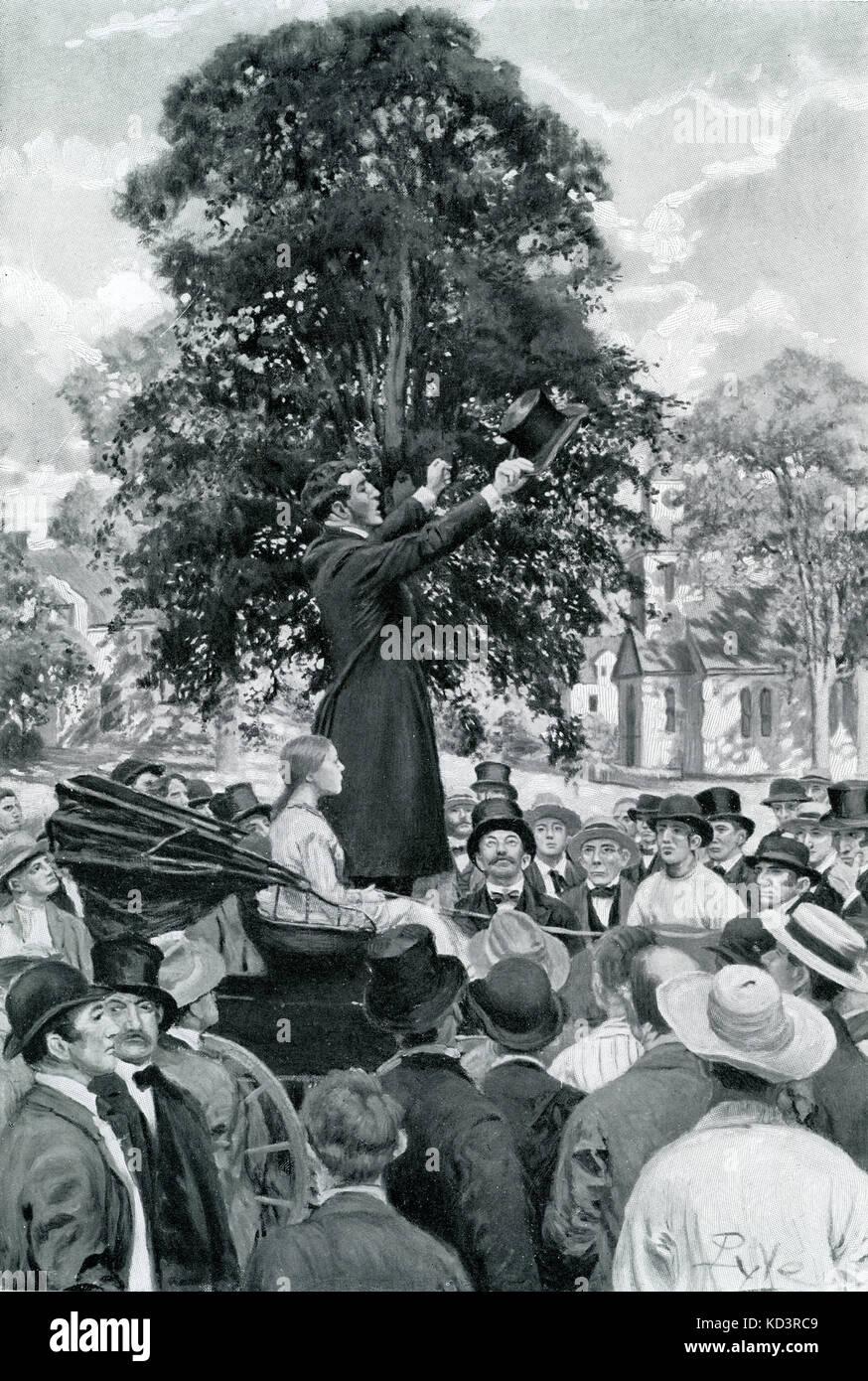Le major Henry Young, officier de l'armée fédéraliste, recrute des soldats. La légende se lit : « la nation est en guerre et doit avoir des hommes ». Guerre civile américaine 1861 - 1865. Illustration de Howard Pyle, 1909 Banque D'Images