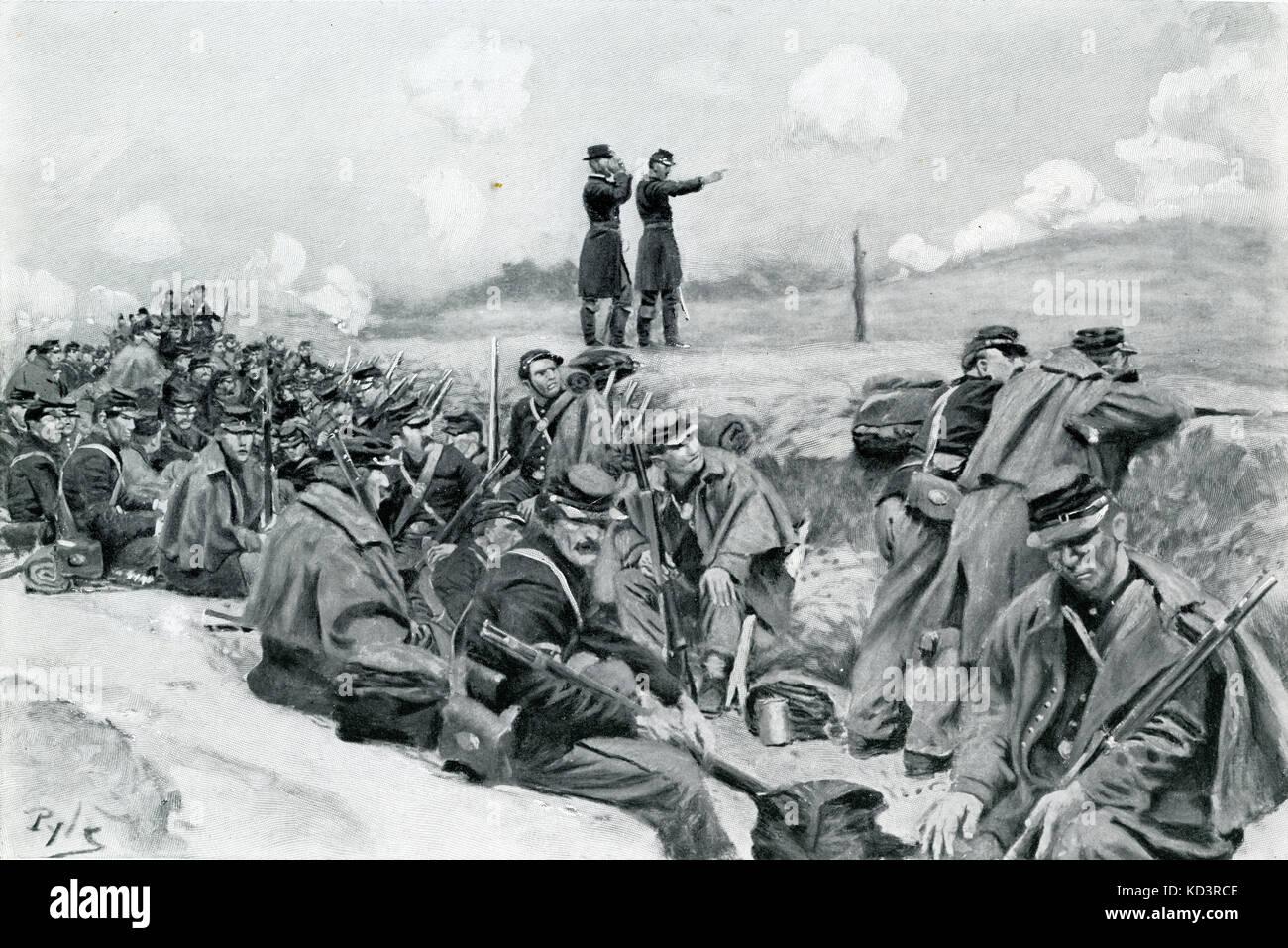 Les soldats de l'armée fédérale attendent l'ordre de charge, la guerre civile américaine 1861 - 1865. Illustration de Howard Pyle, 1909 Banque D'Images
