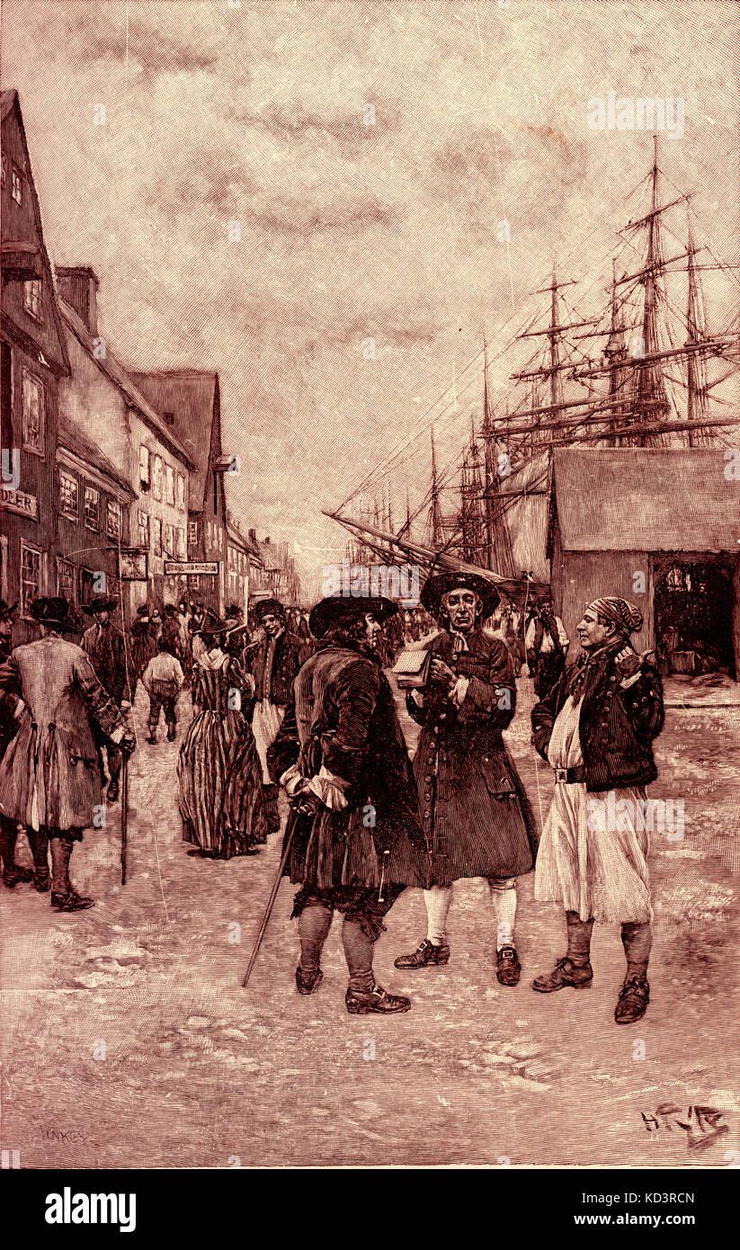 Traders de la Dutch West India Company le long du front de mer, New Amsterdam (aujourd'hui New York), Dutch colons c. 1630 s. Illustration de Howard Pyle, 1883 Banque D'Images