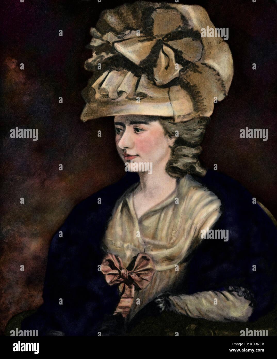 Frances Burney/ Fanny Burney/ Madame d'Arblay (13 juin 1752 – 6 janvier 1840). Romancier, diariste et dramaturge anglais. Après peinture à l'huile par E.F. Burney. Banque D'Images