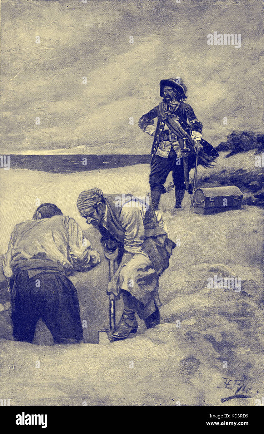 Le capitaine William Kidd et son équipage bourrant le Trésor, à Gardiner's Island. Illustration de Howard Pyle Banque D'Images