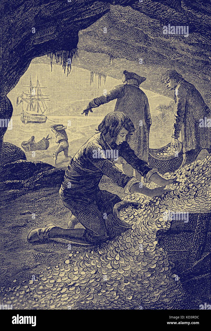 Treasure Island par Robert Louis Stevenson. La légende indique : « J'ai été occupé toute la journée dans la grotte, empatant l'argent miné dans des sacs à pain. » (Jim Hawkins - chargement du Trésor.) Chapitre XXXIII la chute d'un Chieftain. Première publication en 1881-82. RLS : romancier écossais, poète et écrivain de voyage, 13 novembre 1850 – 3 décembre 1894. Banque D'Images