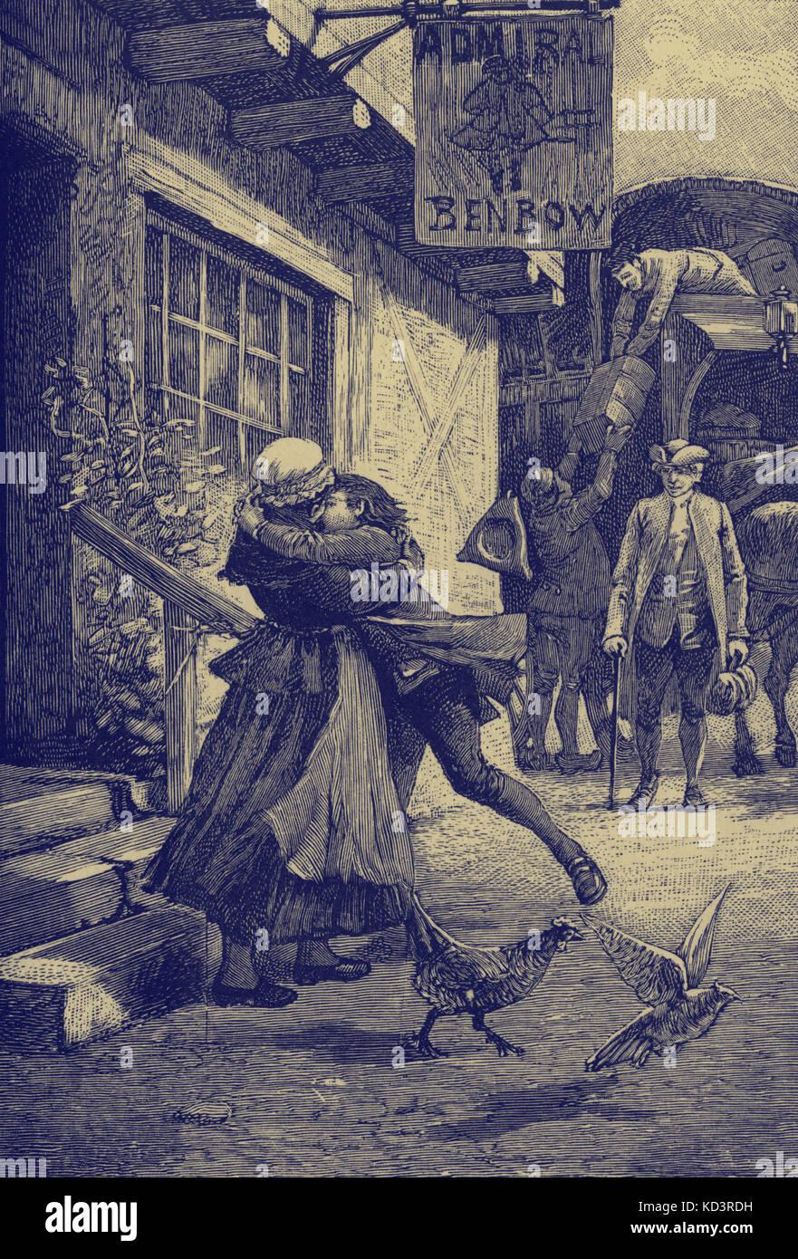 Treasure Island par Robert Louis Stevenson. Légende : « J'ai dit au revoir à la mère et à la crique où j'avais vécu depuis ma naissance » ( Jim Hawkins dit au revoir). Ch VII Je vais à Bristol. Première publication en série 1881-82. RLS : romancier écossais, poète et écrivain de voyage, 13 novembre 1850 – 3 décembre 1894. Banque D'Images