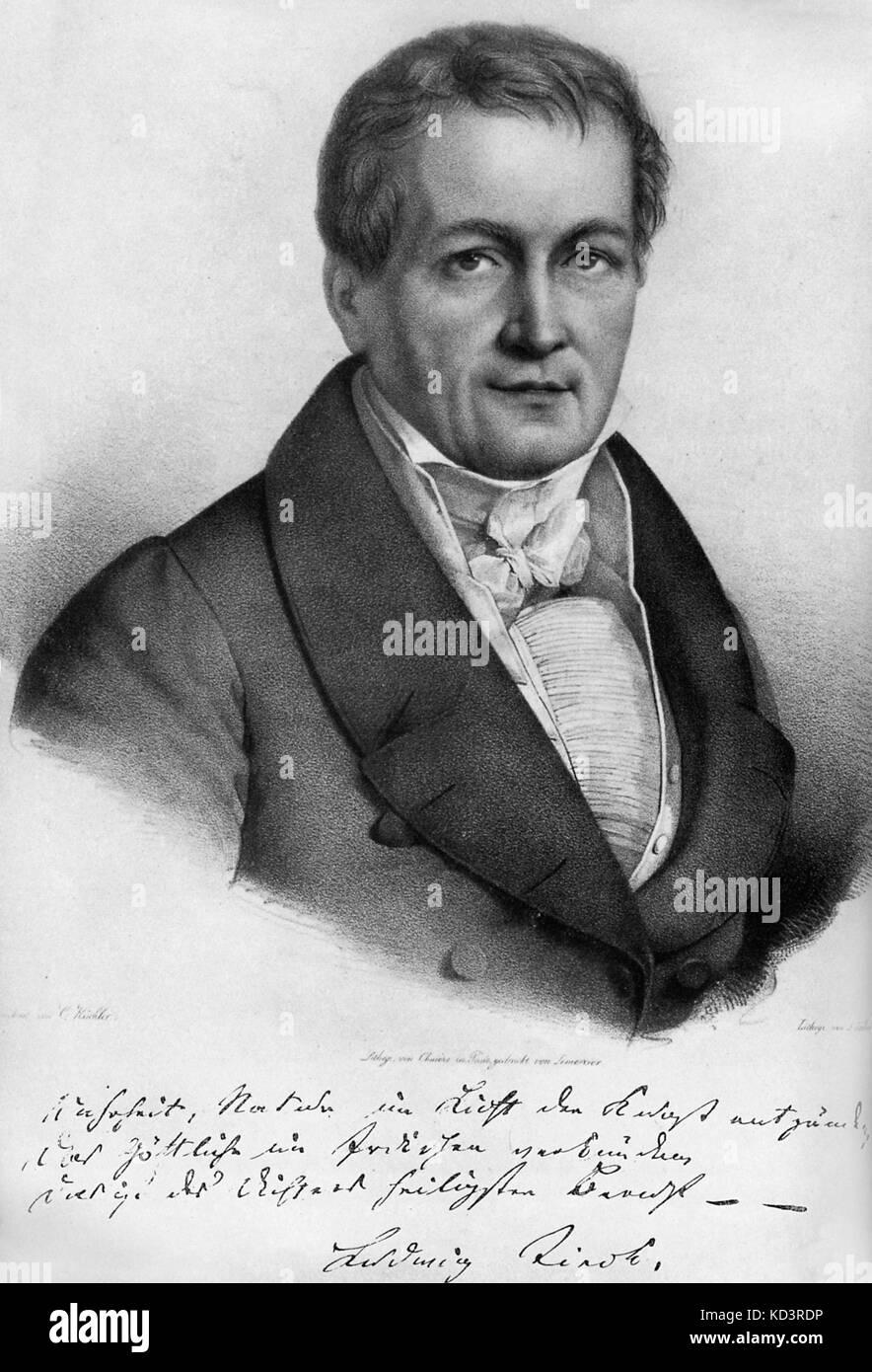 Ludwig Tieck -portrait. Avec signature. Écrivain allemand sur Shakespeare. 31 mai 1773 - 28 avril 1853. Écrit sous pseudonyme de Peter Lebrecht. Banque D'Images
