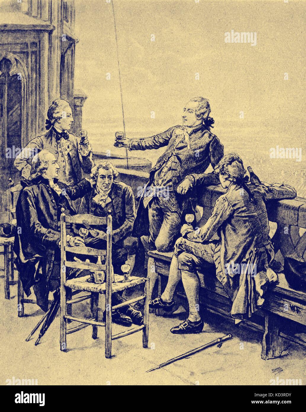 Johann Gottfried Herder, Heinrich Lenz - Jung Stilling, Johann Wolfgang von Goethe, Christian Gotthilf Salzmann, lors d'une soirée d'adieu à la tour Munster de Strasbourg. HGJ : philosophe, poète et critique littéraire allemand, 25 août 1744 – 18 décembre 1803. HL: Physicien allemand balte, 12 février 1804 - 10 février 1865. JS: Auteur allemand, 12 septembre 1740 - 2 avril 1817. JWG : écrivain allemand, 28 août 1749 – 22 mars 1832. CGS : fondateur de l'institution Schnepfenthal, 1744 – 1811. Banque D'Images