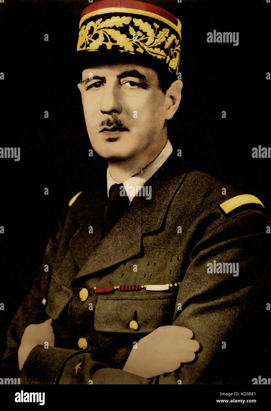 Charles de Gaulle, portrait. Général et homme d'État français, 22 novembre 1890 - 9 novembre 1970. Banque D'Images