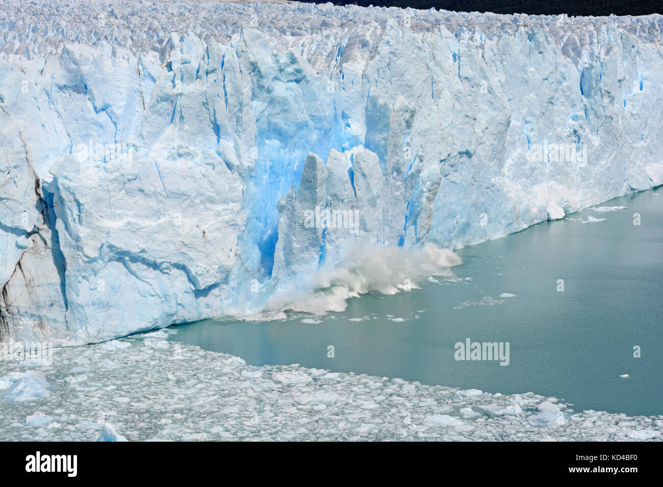 Vêlage de glace au large du glacier Perito Moreno dans le parc national Los Glaciares en Argentine Photo Stock