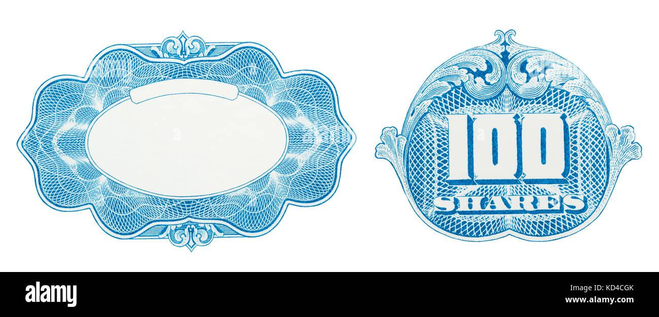 Éléments de conception certificat stock découper sur blanc. Photo Stock