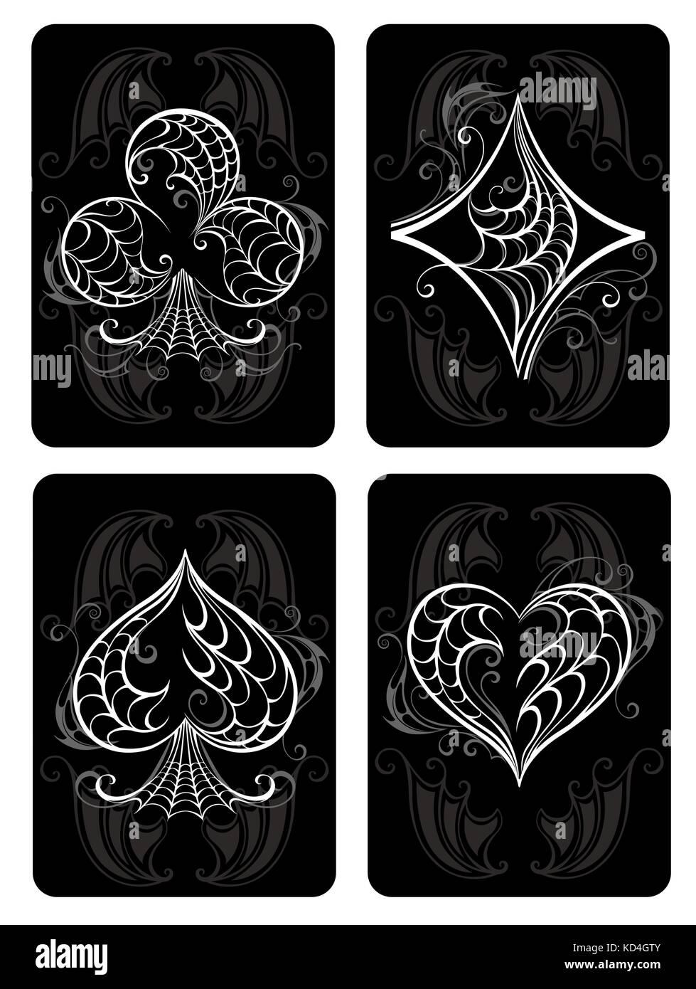 Black jouer aux cartes avec symboles blancs. Les symboles des cartes à jouer. Les symboles de cartes à Photo Stock