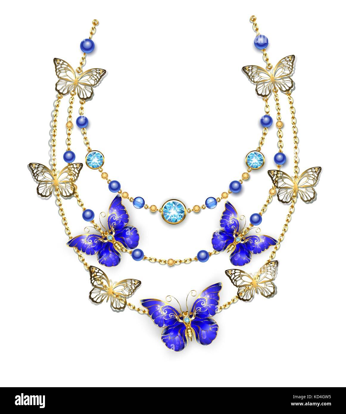 Collier de chaînes d or, orné de perles bleues et saphir papillons.  conception 84c1c993e243