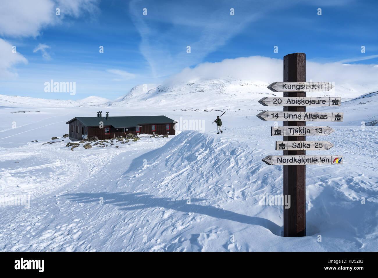 Ski de randonnée dans le massif de montagnes, kebnekaise kiiruna, Suède, Europe Photo Stock