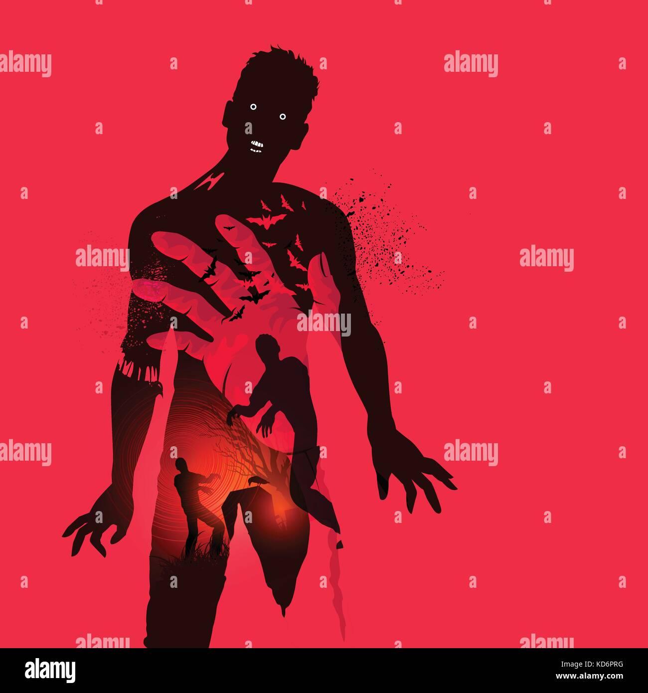 Zombie effrayant cauchemar concept. double exposition illustration vecteur effet. Illustration de Vecteur