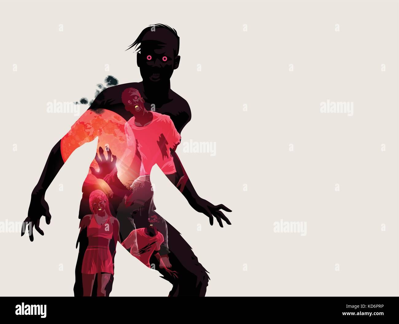 L'étoffement de manger dead zombie silhouette. vector illustration Photo Stock