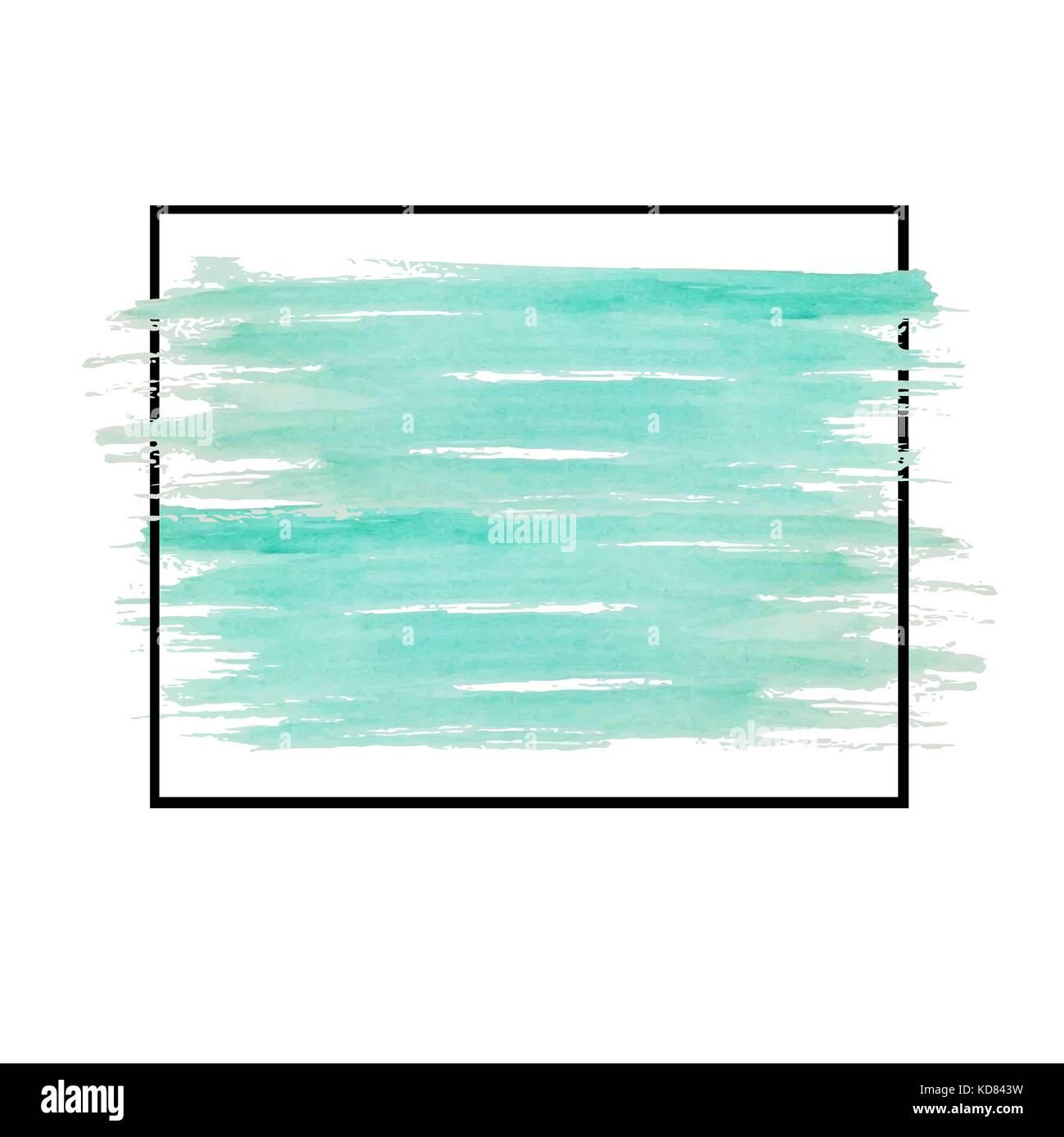 La couleur de l'eau verte dans cadre noir sur blanc Banque D'Images