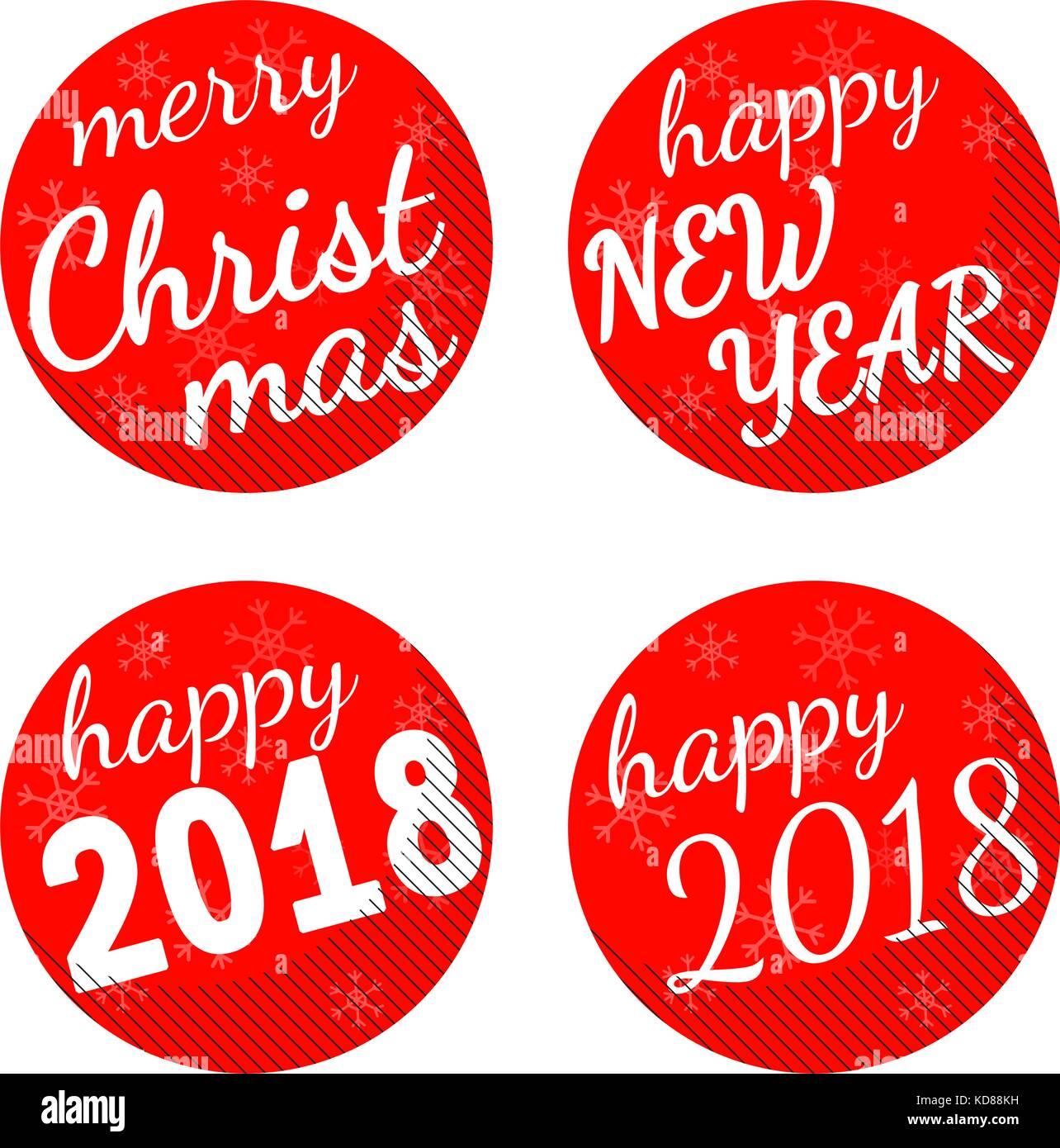 Noël et Nouvel an 2018 vector set autocollant thème isolé sur fond blanc. Illustration de Vecteur