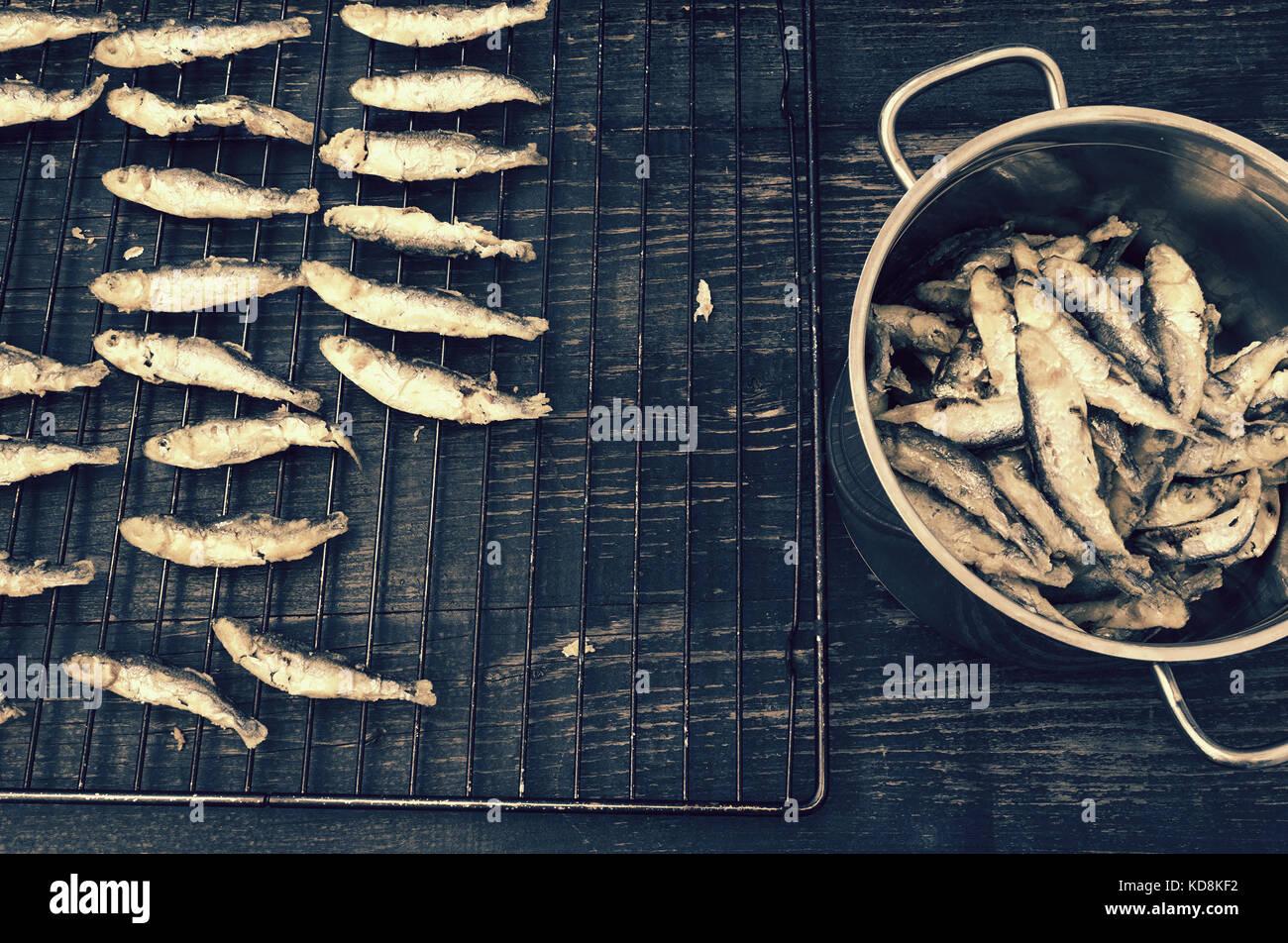 Sardines préparées de façon traditionnelle Photo Stock
