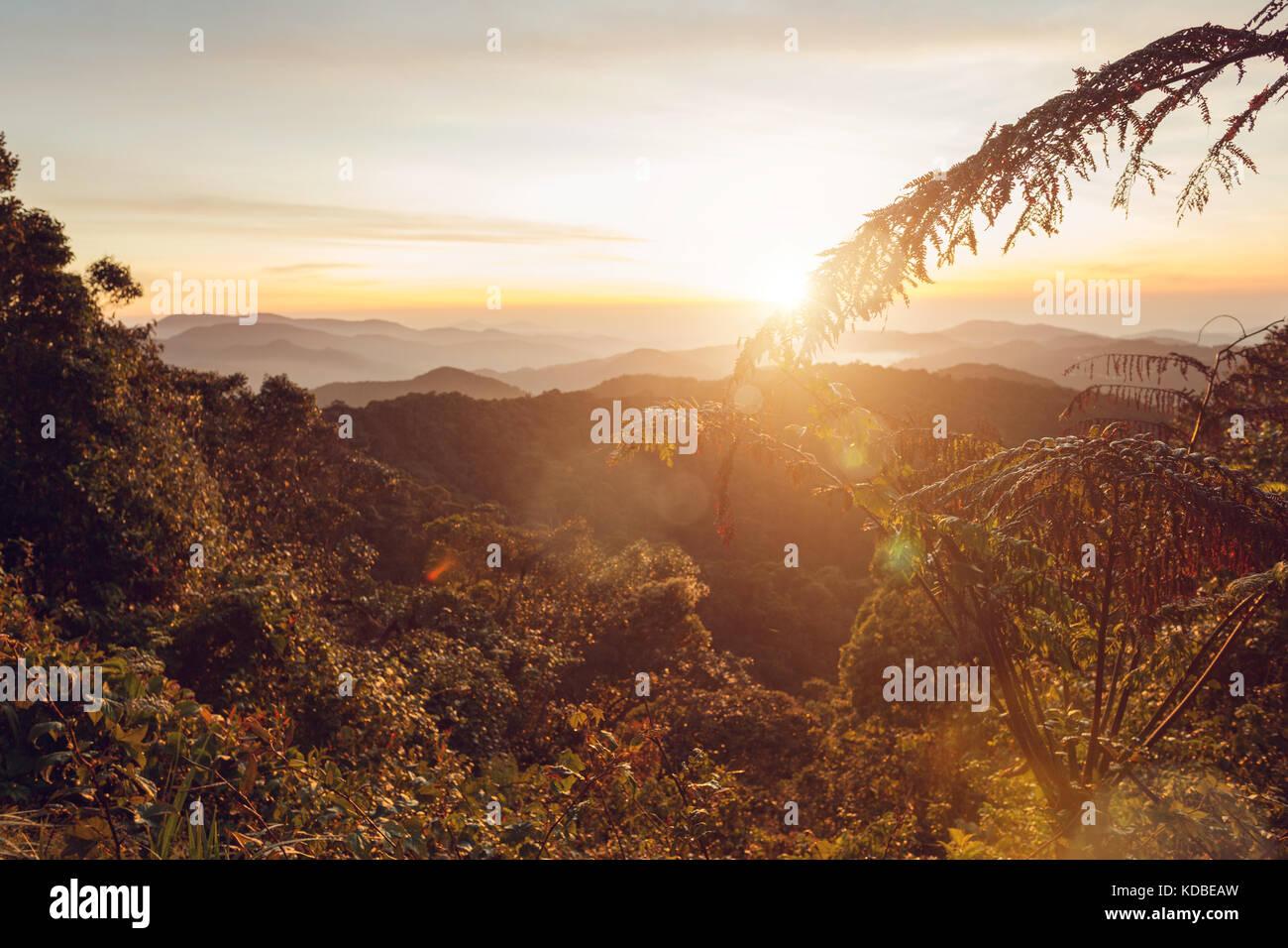 Lever du soleil chaud dans une zone de montagnes en Malaisie Photo Stock
