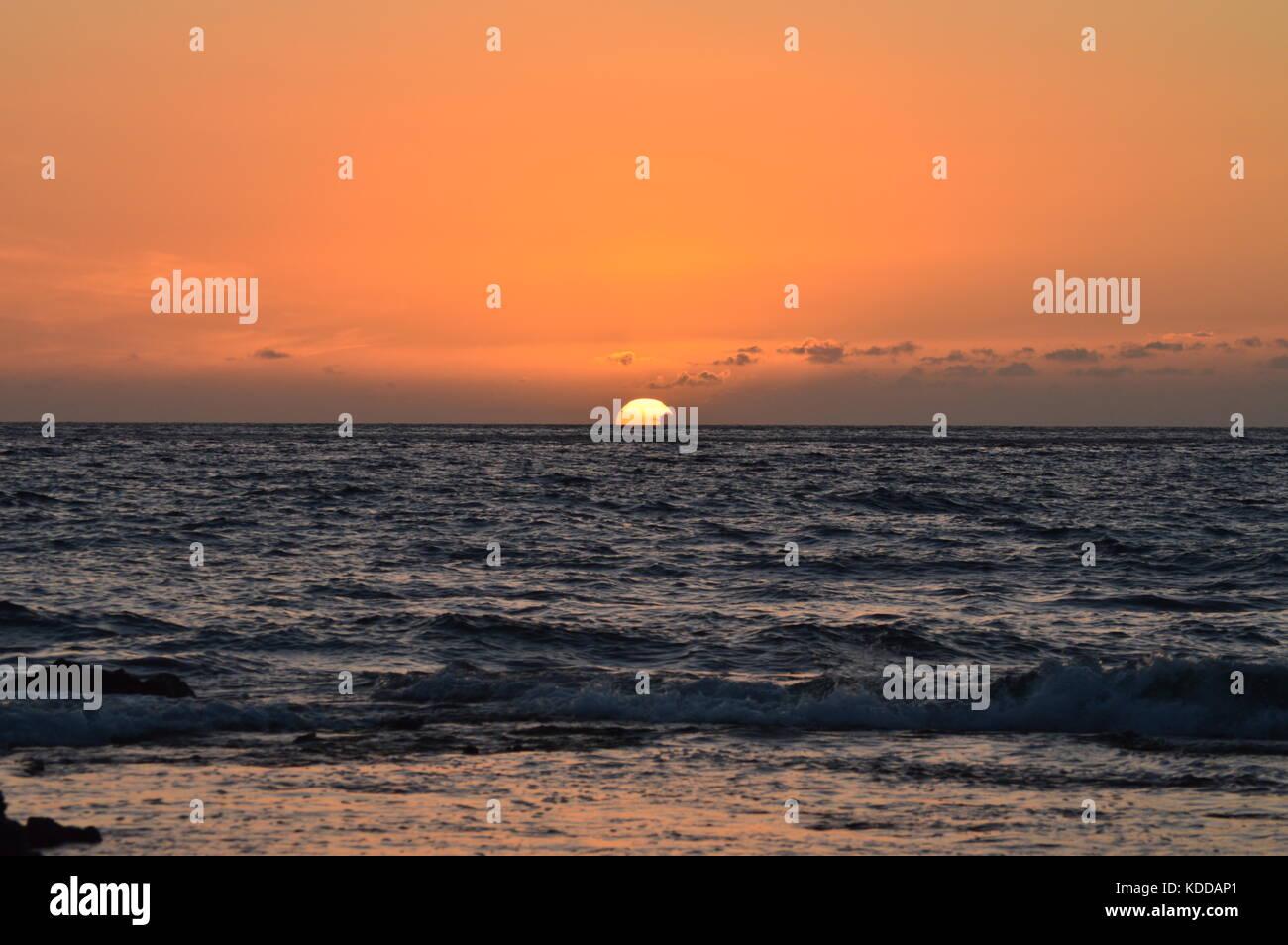 Coucher du soleil à Hawaii, Big Island, Hawaii, USA. Photo Stock