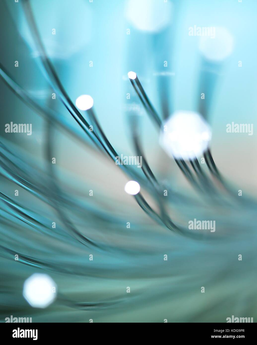 La fibre optique permet de transporter de gros volumes de données. Photo Stock