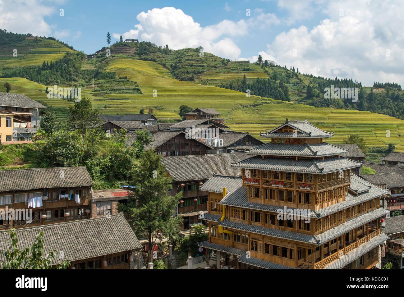 Ping'an zhuang vieux village, terrasse, longsheng longji, Guangxi, Chine Photo Stock